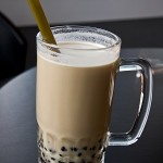 Delicious pearl milk tea closeup